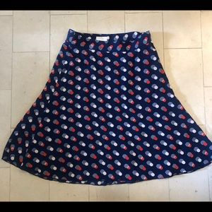"Kate Spade ""Winter Seaside"" Navy Polka Dot Skirt"